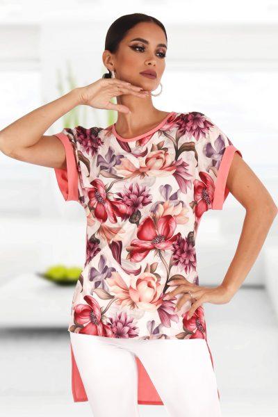 Bluza cu motive florale si trena