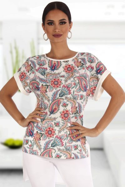 Bluza cu trena imprimata floral